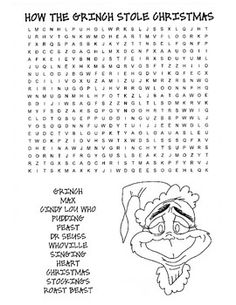 5 how the grinch stole christmas word search - How The Grinch Stole Christmas Games